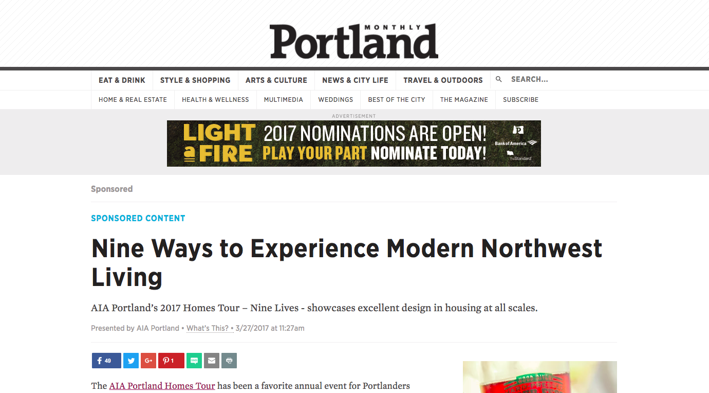 Portland Monthly article on modern living